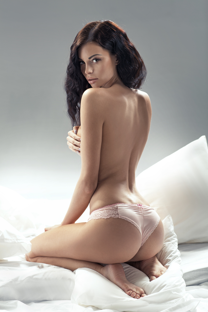 Topless Danielle showing her amazing bum in white panties