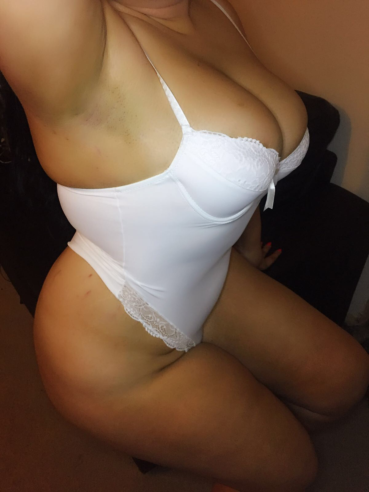 Candy in white lingerie